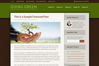 Going Green WordPress Theme - Green Color Scheme (Medium Screenshot)