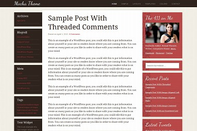 Mocha WordPress Theme - Red Color Scheme (Medium Screenshot)