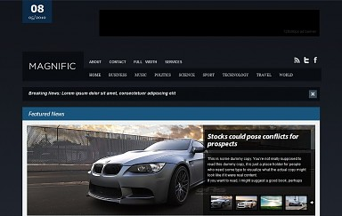 Magnific WordPress Theme - Black and Blue Color Scheme (Medium Screenshot)