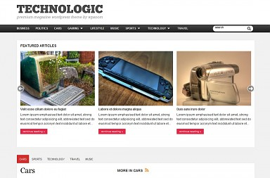 Technologic WordPress Theme - White with Red Color Scheme (Medium Screenshot)