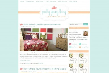 Pretty Young Thing WordPress Theme - Pretty Teal Color Scheme (Medium Screenshot)