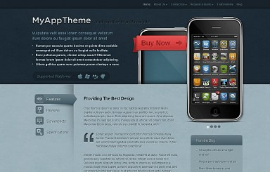 MyApp WordPress Theme - Blue and Red Color Scheme (Medium Screenshot)