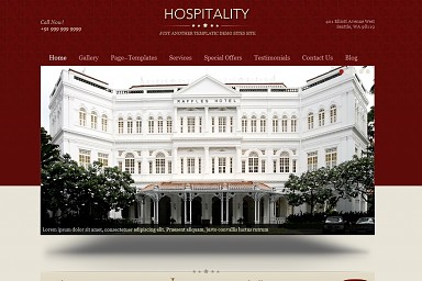 Hospitality WordPress Theme - Red Color Scheme (Medium Screenshot)