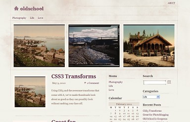 Old School WordPress Theme - Cream and Purple Color Scheme (Medium Screenshot)