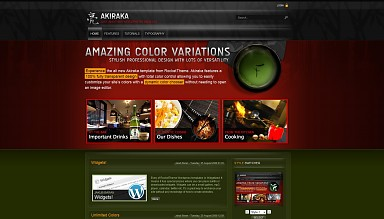 Akiraka WordPress Theme - Red & Green Color Scheme (Medium Screenshot)