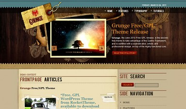 Grunge WordPress Theme - Brown Color Scheme (Medium Screenshot)