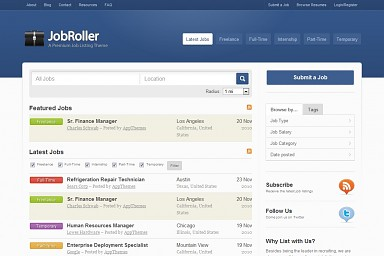 JobRoller WordPress Theme - Blue Color Scheme (Medium Screenshot)