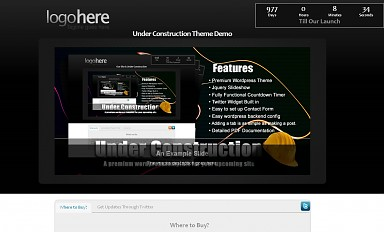 Under Construction WordPress Theme - Black Color Scheme (Medium Screenshot)