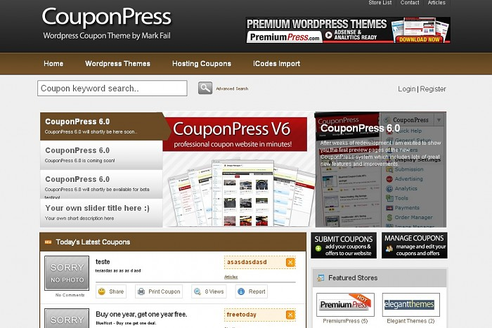 CouponPress includes brown blue and green color schemes