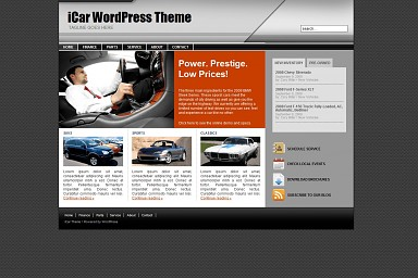 iCar WordPress Theme - Gray Color Scheme (Medium Screenshot)