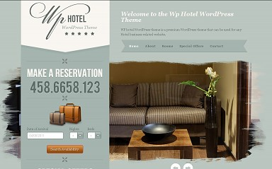 WP Hotel WordPress Theme - Gray-Green Color Scheme (Medium Screenshot)