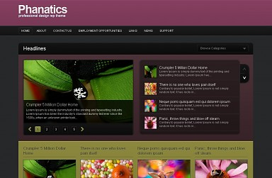 Phanatics WordPress Theme - Plum Color Scheme (Medium Screenshot)