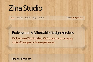 Zina WordPress Theme - Wood Color Scheme (Medium Screenshot)