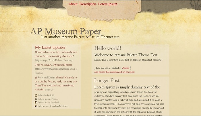 Paper WordPress Theme from Museum Themes