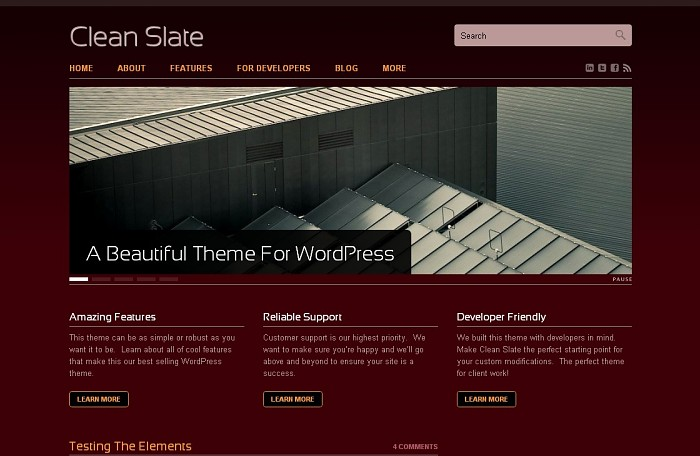 Clean slate business wordpress theme from themejam - Burgundy and blue color scheme ...