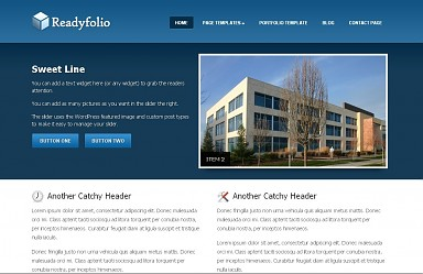 Readyfolio WordPress Theme - Blue Color Scheme (Medium Screenshot)