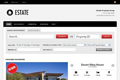 Estate WordPress Theme - Black and Gray Color Scheme (Medium Screenshot)
