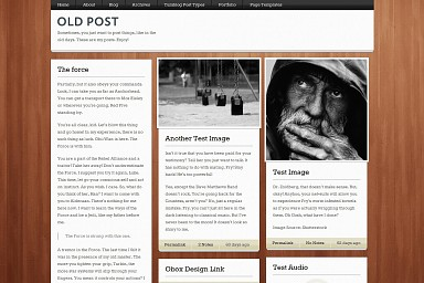 Old Post WordPress Theme - Woodgrain Color Scheme (Medium Screenshot)
