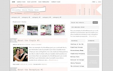 Blissful WordPress Theme - Pink Color Scheme (Medium Screenshot)