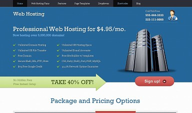 WebHosting WordPress Theme - Blue Color Scheme (Medium Screenshot)