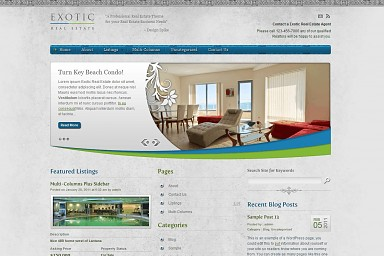 Exotic Real Estate WordPress Theme - Gray/Blue/Green Color Scheme (Medium Screenshot)