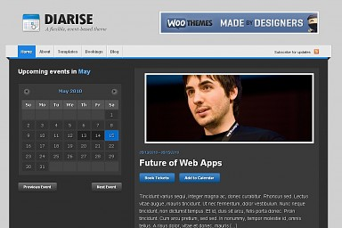 Diarise WordPress Theme - Gray and Blue Color Scheme (Medium Screenshot)