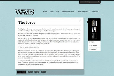 Waves WordPress Theme - Blue Color Scheme (Medium Screenshot)