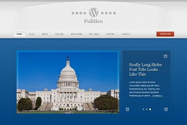 Politico WordPress Theme - Blue Color Scheme (Medium Screenshot)