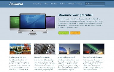 Equilibria WordPress Theme - Blue Color Scheme (Medium Screenshot)