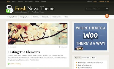 Fresh News WordPress Theme - Black and White Color Scheme (Medium Screenshot)