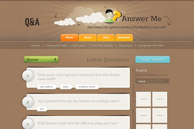Question & Answer WordPress Theme - Brown Color Scheme (Medium Screenshot)