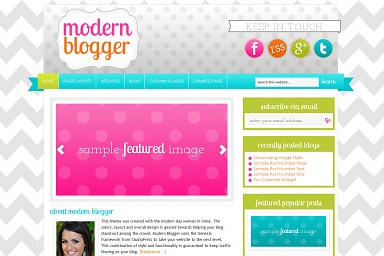 Modern Blogger WordPress Theme - Blue/Green/Pink Color Scheme (Medium Screenshot)