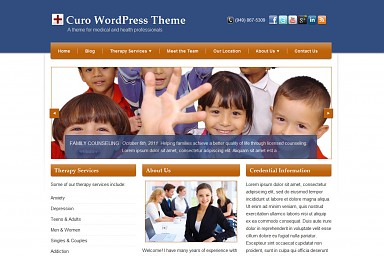 Curo WordPress Theme - Blue/Orange Color Scheme (Medium Screenshot)