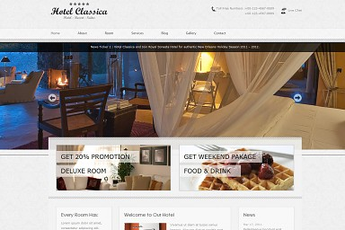 Hotel Classica WordPress Theme - Gray Color Scheme (Medium Screenshot)