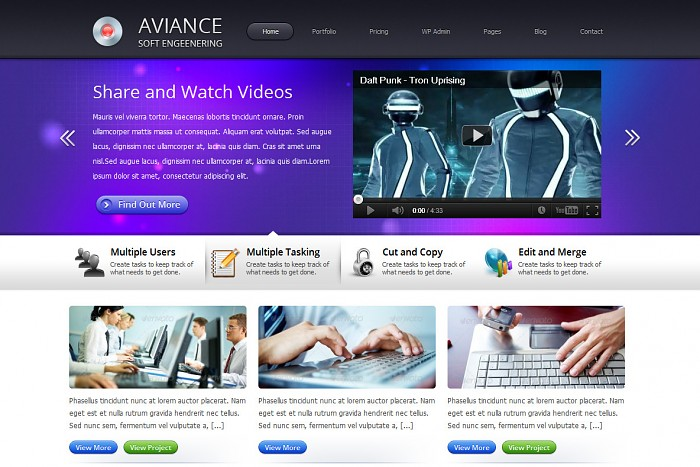 Aviance includes purple blue and green color schemes