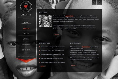Charity WordPress Theme - Black Color Scheme (Medium Screenshot)