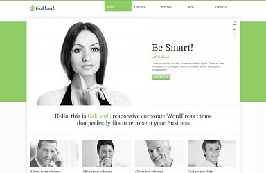 Oakland WordPress Theme - White & Green Color Scheme (Medium Screenshot)