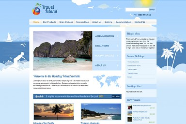 Travel Island WordPress Theme - Blue Color Scheme (Medium Screenshot)