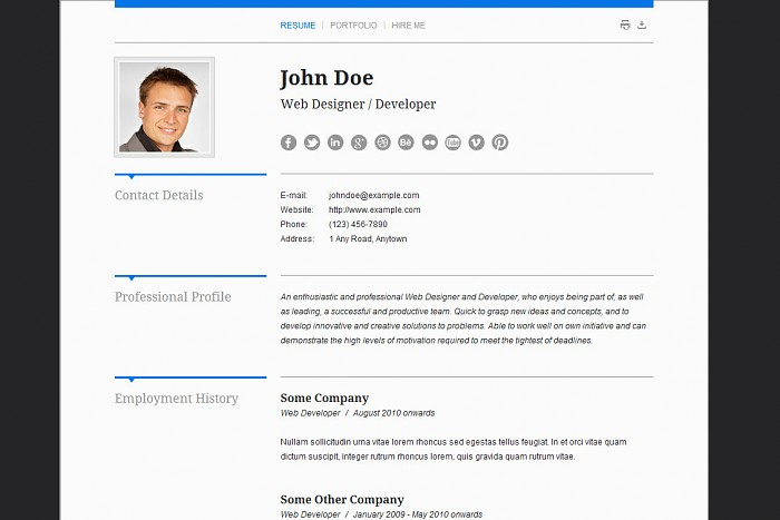 resume cv wordpress themes