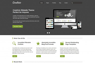 Creativio WordPress Theme - Gray Color Scheme (Medium Screenshot)