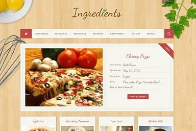 Ingredients WordPress Theme - Wood Color Scheme (Medium Screenshot)