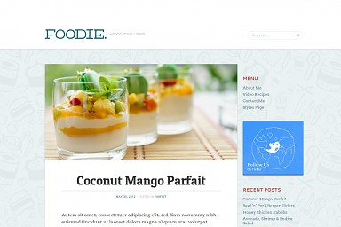 Foodie WordPress Theme - Blue Color Scheme (Medium Screenshot)